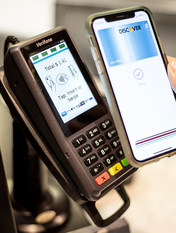 P400 device with mobile wallet payment