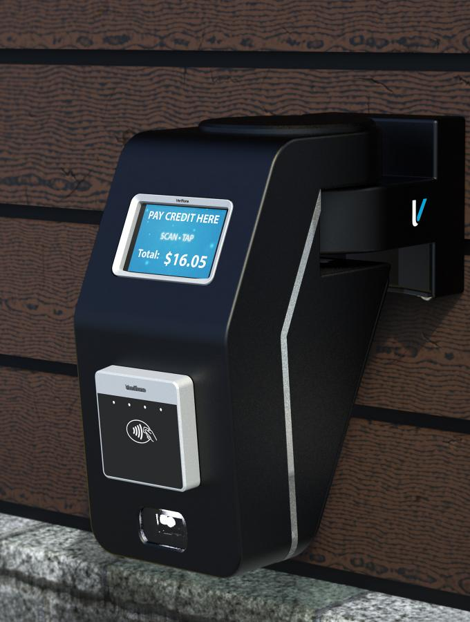 Verifone KX650 contactless payment device at fast food drive thru window